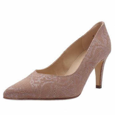 Elektra Dressy Pointy Toe Mid Heel Court Shoes in Rose Tiles