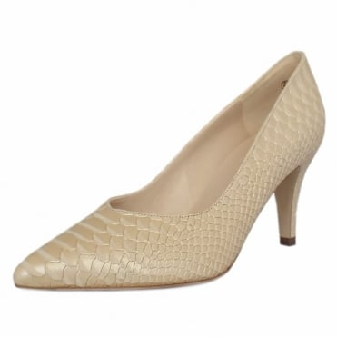 Elektra Dressy Pointy Toe Mid Heel Court Shoes in Sabbia Birman