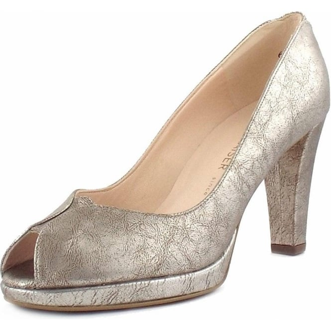 Peter Kaiser Emilia Peep Toe Dressy Court Shoes In Metallic Leather