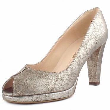 Emilia Peep Toe Dressy Court Shoes In Metallic Leather