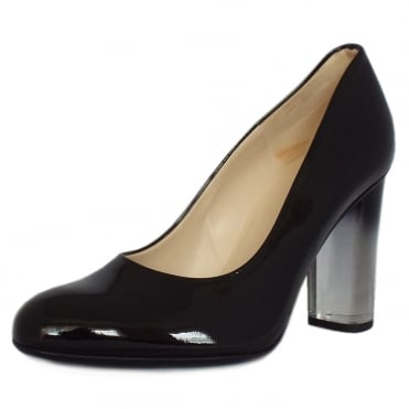 Flademara Trendy Ombre Heel Court Shoes in Black Patent
