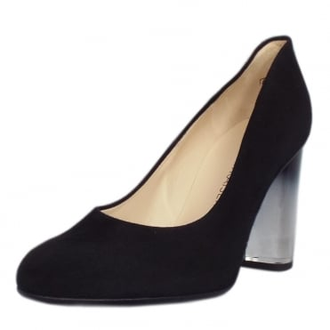 Flademara Trendy Ombre Heel Court Shoes in Black Suede
