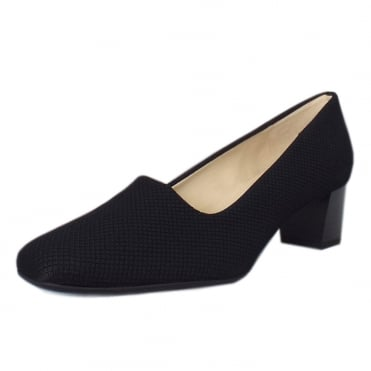 Geneve Classic Low Heel Court Shoes in Black Rombo