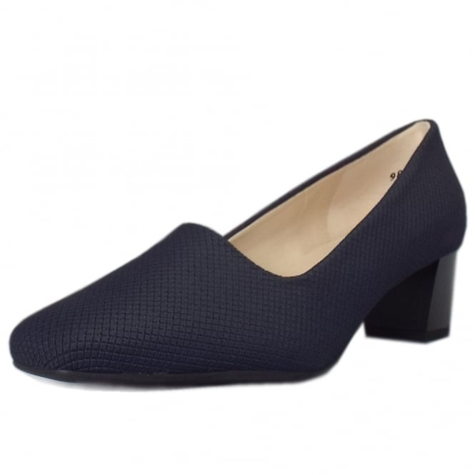 Peter Kaiser Geneve Classic Low Heel Court Shoes in Navy Rombo