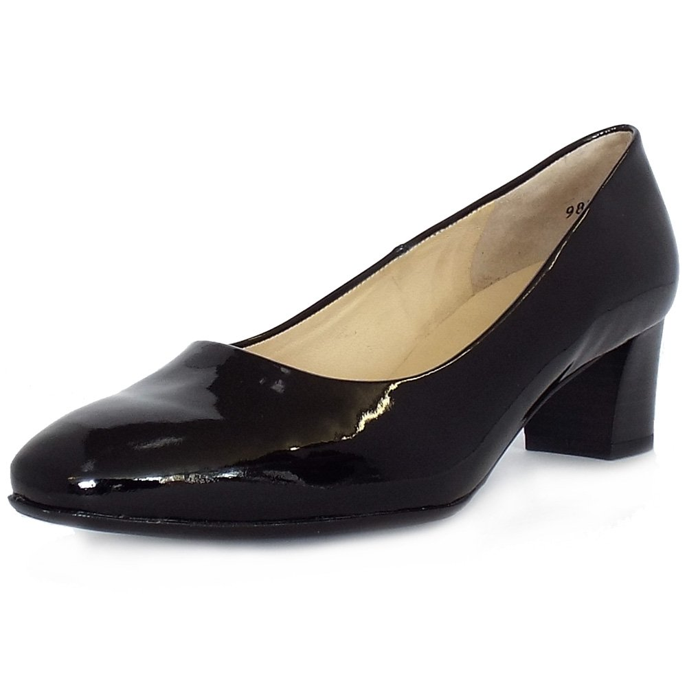 kaiser low heel court shoes in black patent