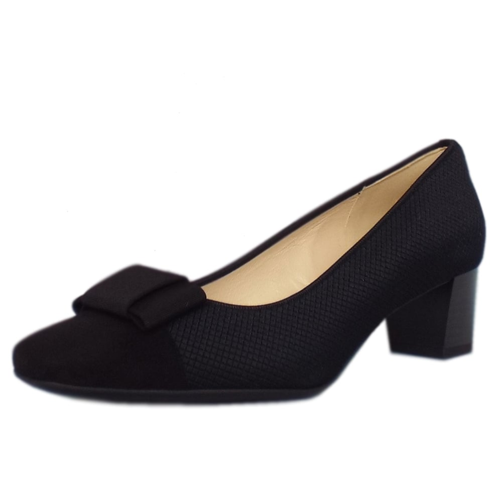 6549ba0e4dfb Gristina Low Heel Wide Fit Shoes in Black Suede