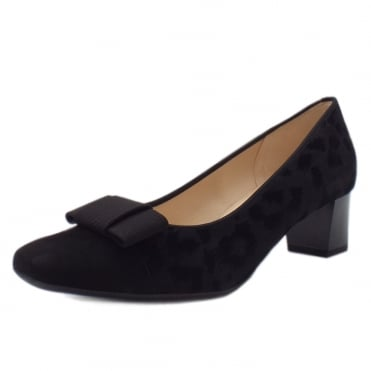 Gristina Low Heel Wide Fit Shoes in Black Tulia