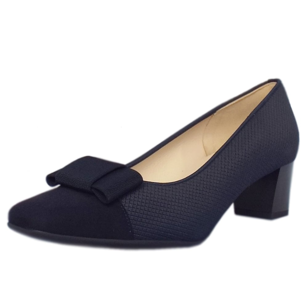 Gristina Low Heel Wide Fit Shoes in Navy Suede 24d3097d652e