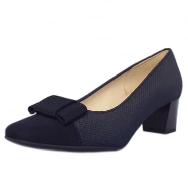 Gristina Low Heel Wide Fit Shoes in Navy Suede