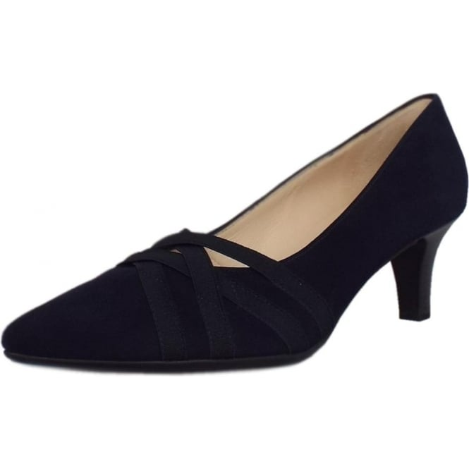 Peter Kaiser Haissel Trendy Pointed Toe Court Shoes in Notte Suede