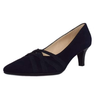 Haissel Trendy Pointed Toe Court Shoes in Notte Suede