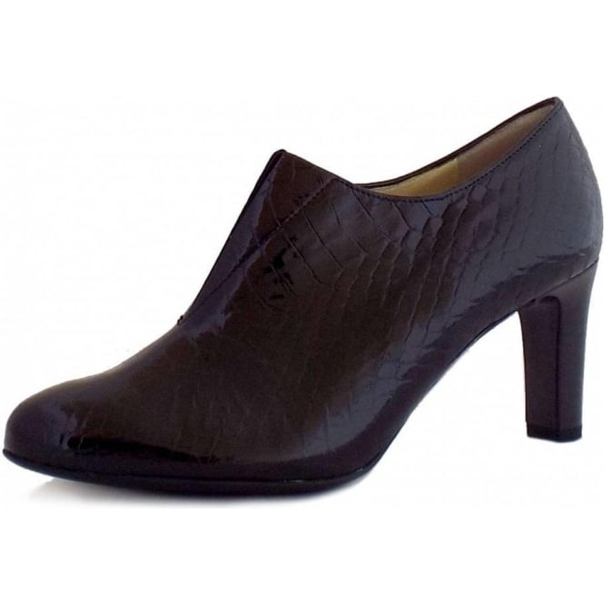 Ladies Black Patent Leather Shoe Boots