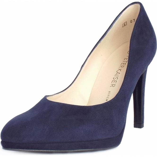 Peter Kaiser Herdi Women's Stiletto Court Shoes in Navy Suede