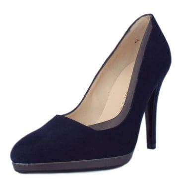 peter kaiser hetlin high heel dressy court shoes in navy suede. Black Bedroom Furniture Sets. Home Design Ideas