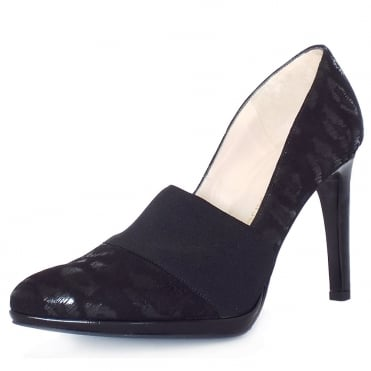Horta High Heel Court Shoes In Black Leopard Print Suede