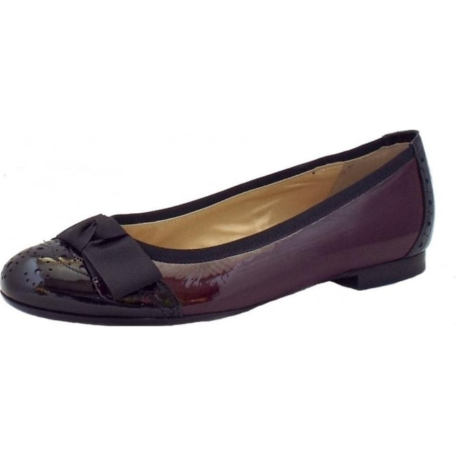 Peter Kaiser Idria Ladies Ballet Pump in Burgundy and Black