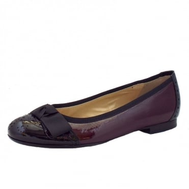 Idria Ladies Ballet Pump in Burgundy and Black