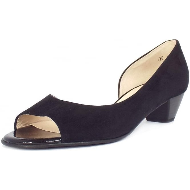 Peter Kaiser Itha Low Heel Open Toe Shoes in Black Suede