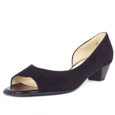 Itha Low Heel Open Toe Shoes in Black Suede