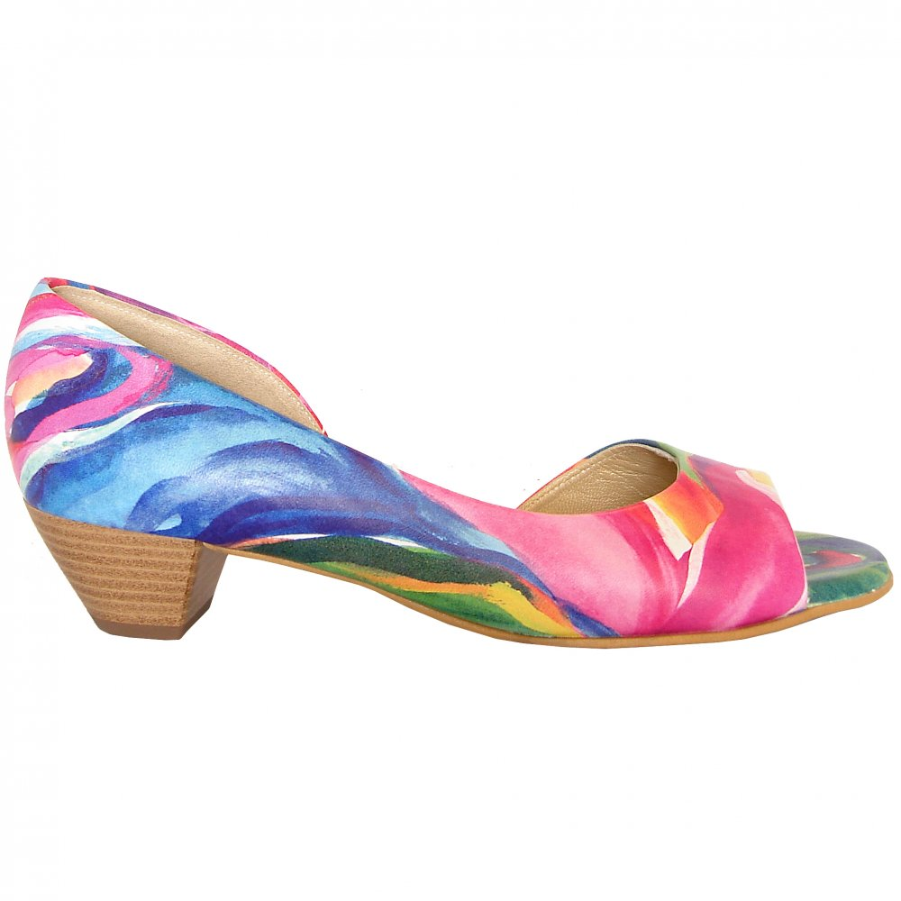 Womens Shoes : Itha low heel open toe shoes in multi colour