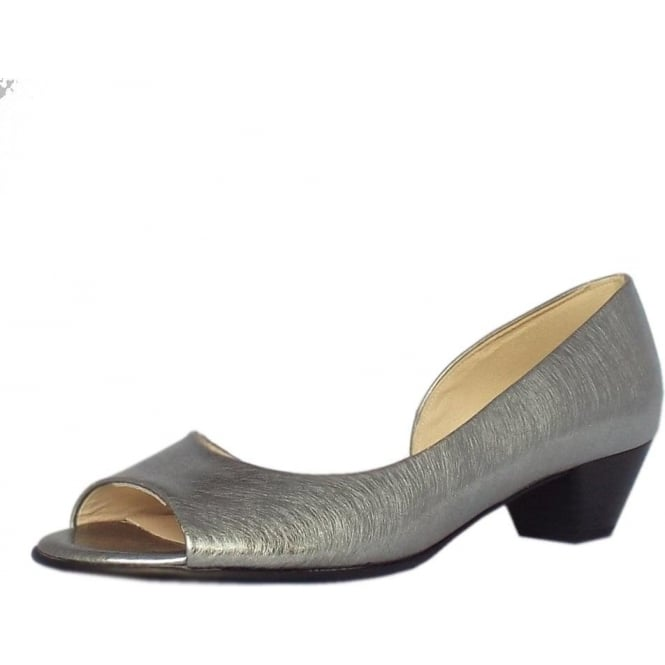 Peter Kaiser Itha Low Heel Open Toe Shoes in Steel Graffiti Brushed Effect Leather