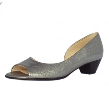 Itha Low Heel Open Toe Shoes in Steel Graffiti Brushed Effect Leather