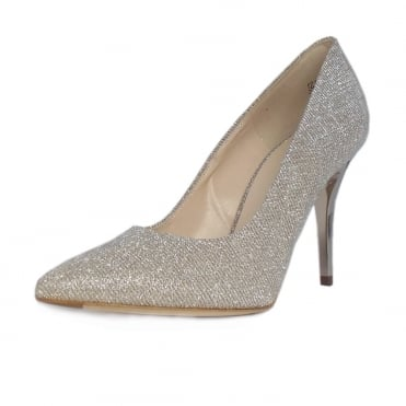 IVI Stiletto Court Shoe in Sand Shimmer