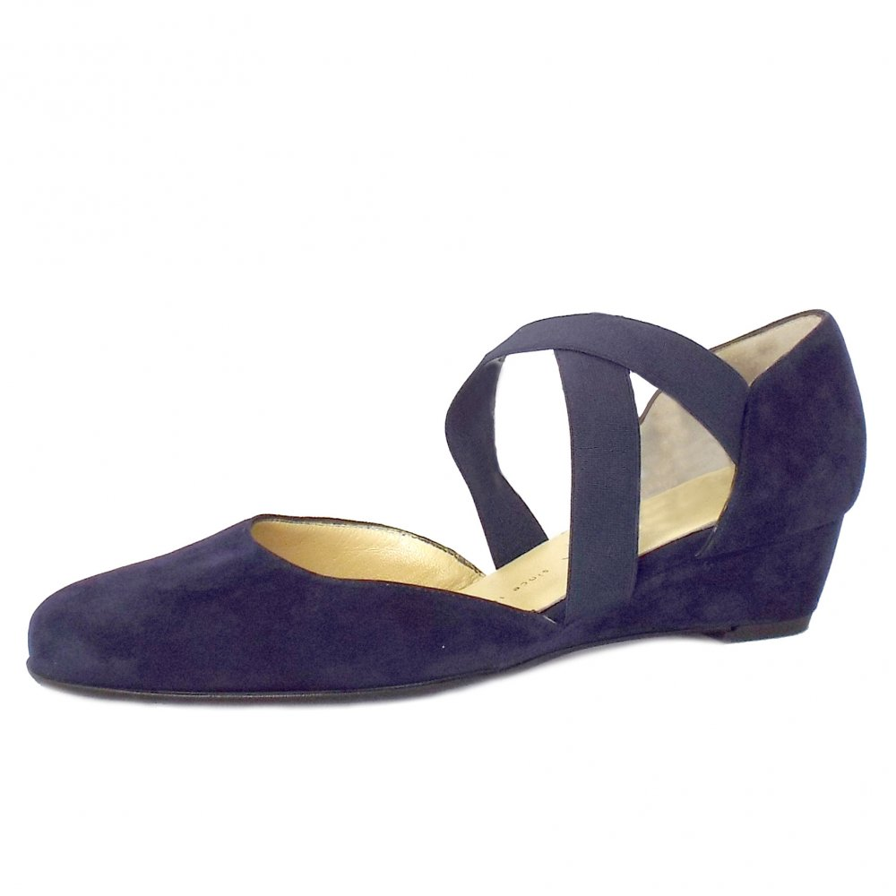 kaiser jaila navy suede low wedge shoes