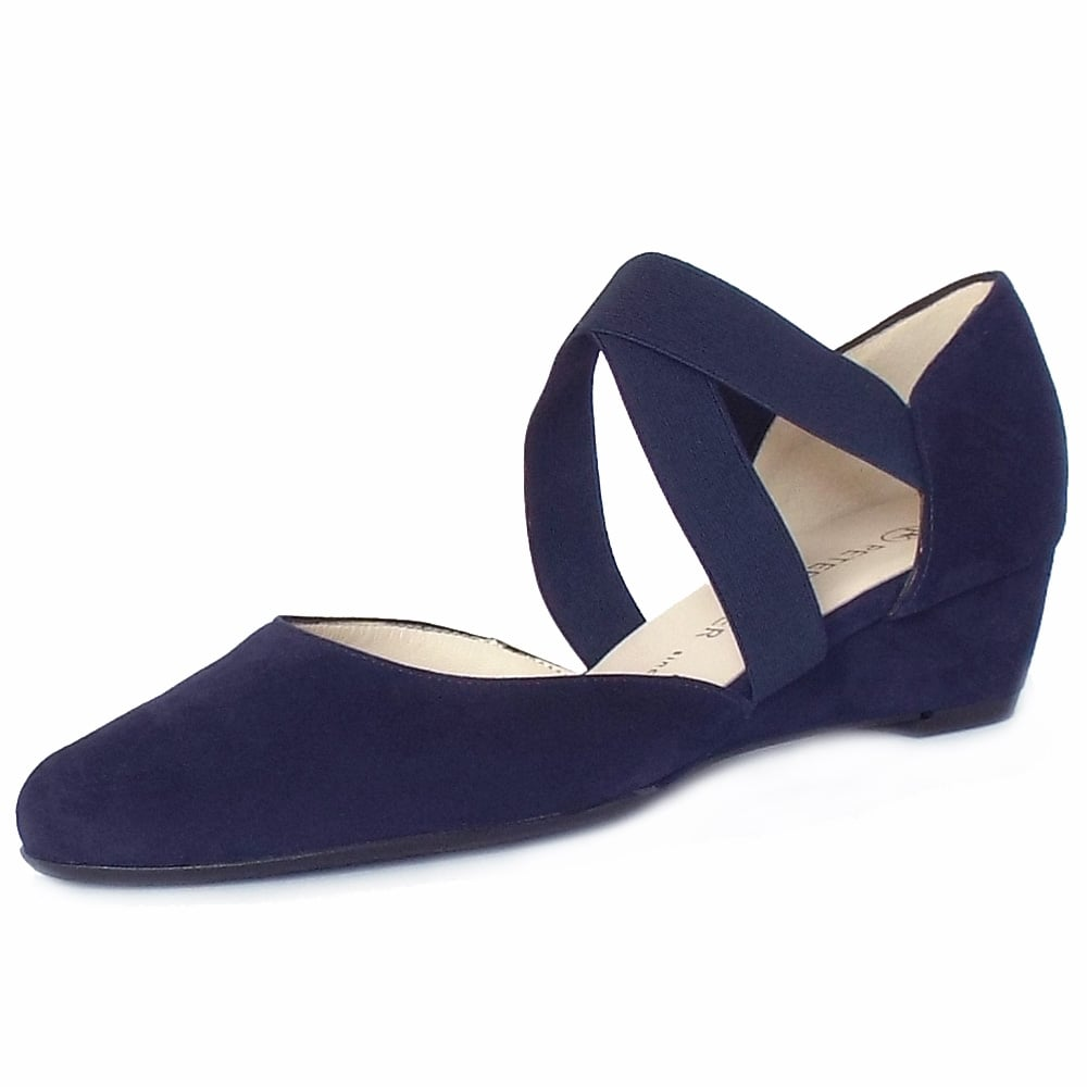 navy suede wedge shoes