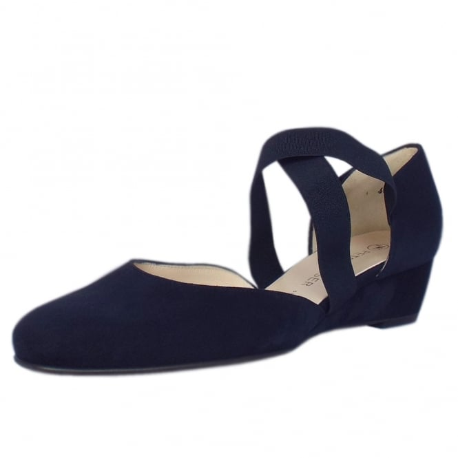 Peter Kaiser Jaila Low Wedge Shoes in Navy Suede