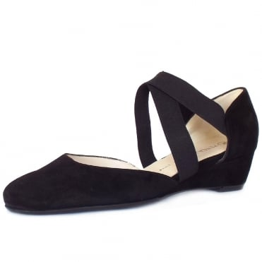 Jaila Low Wedge Summer Shoes in Black Suede