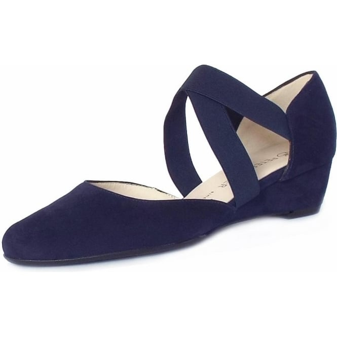 Peter Kaiser Jaila Low Wedge Summer Shoes in Notte Suede