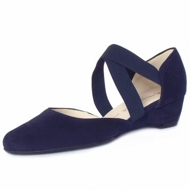 Jaila Low Wedge Summer Shoes in Notte Suede