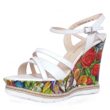 Jenny Women's High Wedge Platform Sandals in White Leather and Unique Print Patent