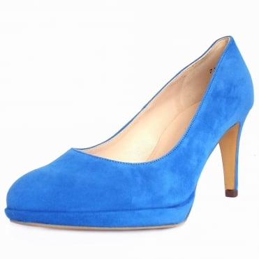 Peter Kaiser Konia Women's Mid Heel Court Shoes In Electra Blue Suede