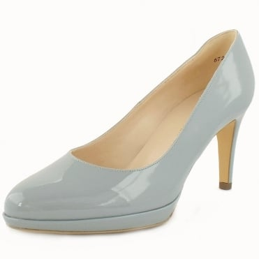 Peter Kaiser Konia Women's Mid Heel Court Shoes In Ice Blue Patent