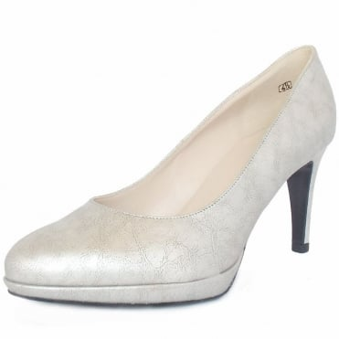 Peter Kaiser Konia Women's Mid Heel Court Shoes in Silver Leather