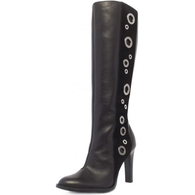 Peter Kaiser Kubana Modern Knee High Boots in Black Nappa Leather and Suede