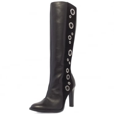 Kubana Modern Knee High Boots in Black Nappa Leather and Suede