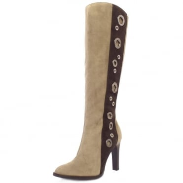Kubana Modern Knee High Boots in Taupe And Brown Suede