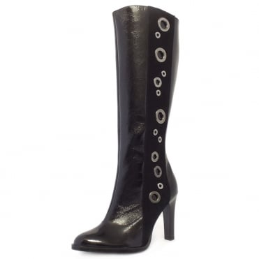 Kubana Stylish High Heel Long Boots in Black Patent