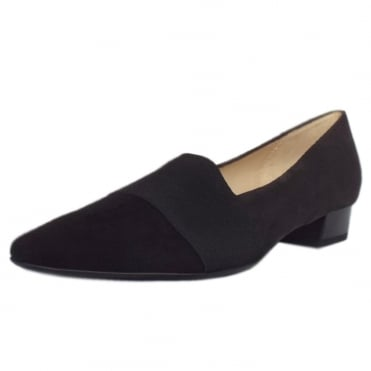 Lagos Pointed Toe Ballet Pumps in Black/Carbon Suede