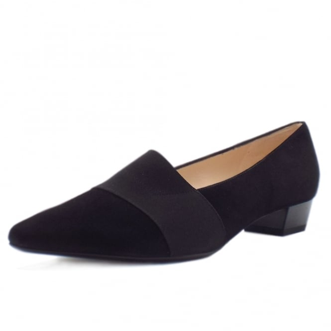 Peter Kaiser Lagos Pointed Toe Ballet Pumps in Black Suede