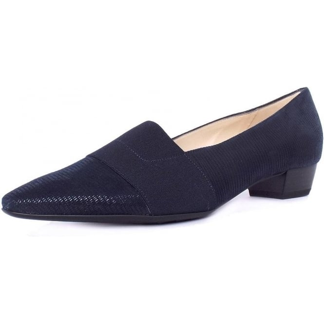 Peter Kaiser Lagos Pointed Toe Ballet Pumps in Navy Lizard Suede