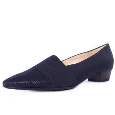 Lagos Pointed Toe Ballet Pumps in Navy Lizard Suede