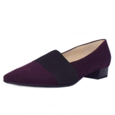 Lagos Pointed Toe Ballet Pumps in Plum Suede