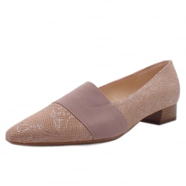 Lagos Pointed Toe Ballet Pumps in Rose Tiles