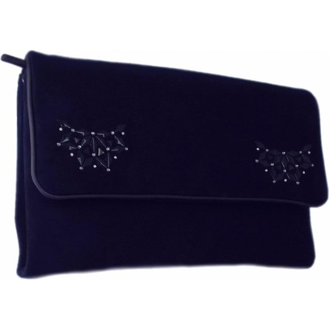Peter Kaiser Lalita Classic Evening Clutch Bag In Navy Suede