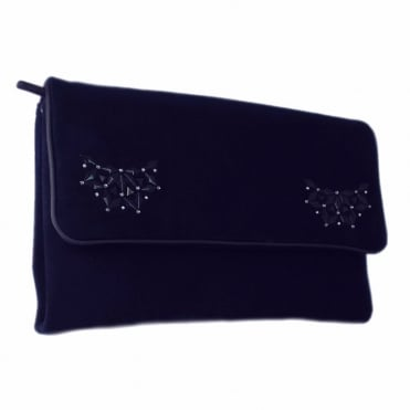 Lalita Classic Evening Clutch Bag In Navy Suede