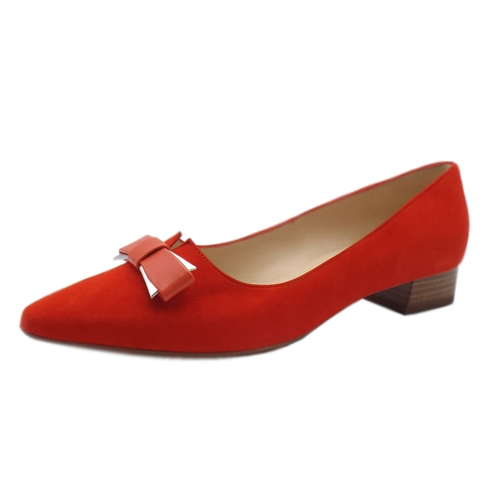 12d9f0f54a9 Peter Kaiser Leah Pointed Toe Low Heel Courts in Coral Red